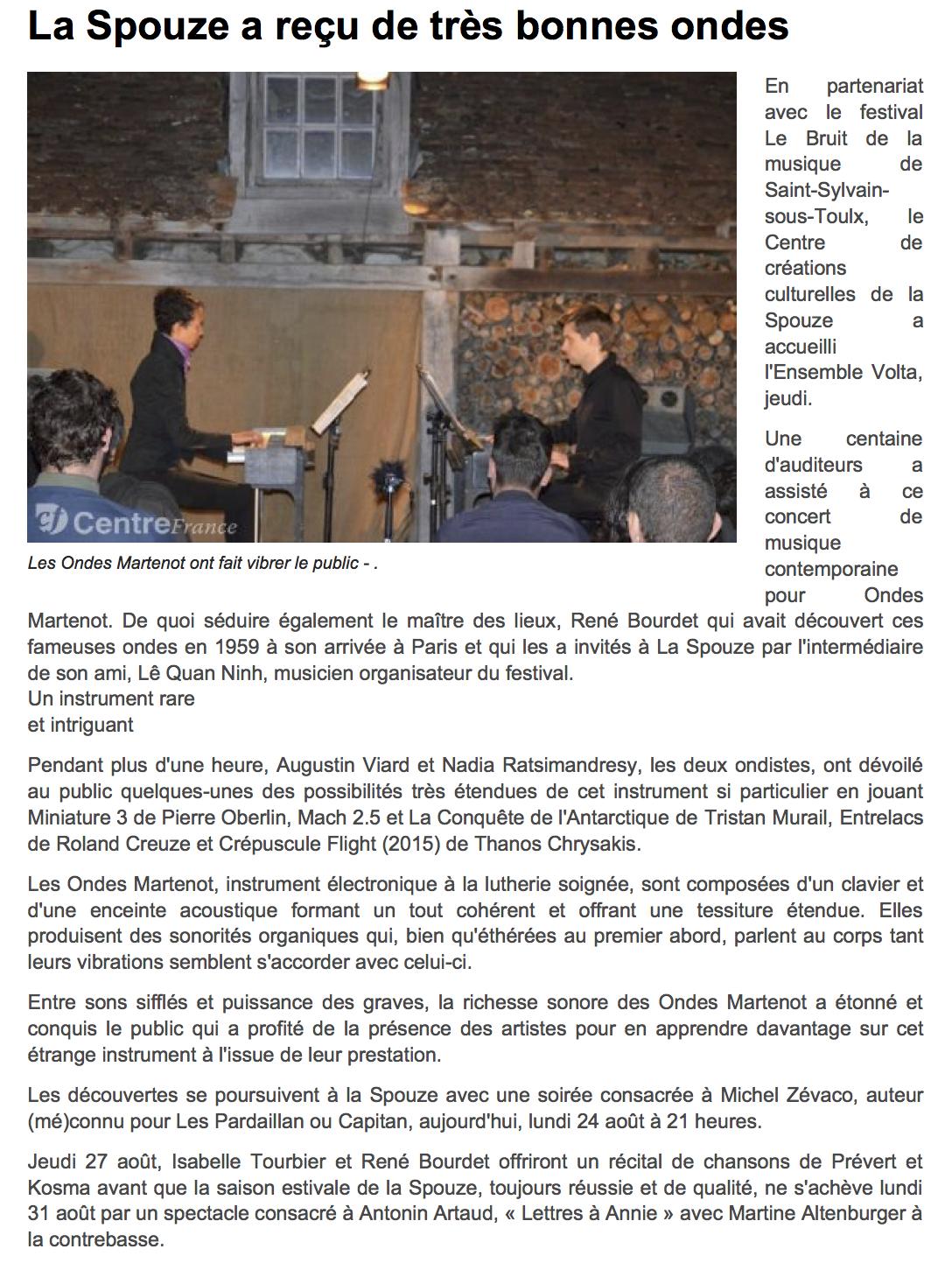 www.lepopulaire.fr - Infos locales - CE... La Spouze a reçu de très bonnes ondes